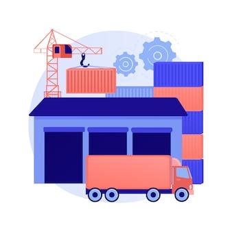 Ilustracja wektorowa koncepcja streszczenie centrum logistycznego. globalne centrum logistyczne, magazyn handlowy, centrum dystrybucji, zarządzanie łańcuchem dostaw, abstrakcyjna metafora optymalizacji kosztów transportu.
