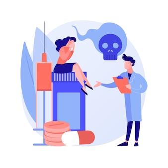 Ilustracja wektorowa koncepcja streszczenie centrum odwyku narkotyków. szpitalny ośrodek odwykowy, leczenie eksperymentalne, rehabilitacja odwykowa, klinika terapii uzależnień abstrakcyjna metafora obiektu.