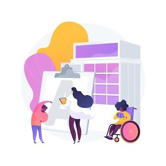 Ilustracja wektorowa koncepcja streszczenie centrum rehabilitacji dzieci. centrum rehabilitacji dzieci, opieka zdrowotna dla dzieci, koordynacja, wsparcie pediatryczne i pedagogiczne abstrakcyjna metafora.