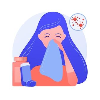 Ilustracja wektorowa koncepcja streszczenie chorób alergicznych. alergia atopowa, ciężka reakcja, terapia lekami przeciwhistaminowymi, leczenie chorób alergicznych, wysypka skórna, abstrakcyjna metafora poradni dermatologicznej.