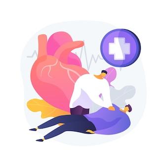 Ilustracja wektorowa koncepcja streszczenie cpr. resuscytacja krążeniowo-oddechowa, rko, postępowanie ratunkowe, uciśnięcia klatki piersiowej, karetka pogotowia, sztuczna wentylacja, abstrakcyjna metafora szkolenia z pierwszej pomocy.