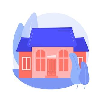 Ilustracja wektorowa koncepcja streszczenie dom jednorodzinny. dom jednorodzinny, samodzielne gospodarstwo domowe, budynek jednorodzinny, własność indywidualna gruntu, jednostka mieszkalna wolnostojąca - abstrakcyjna metafora.