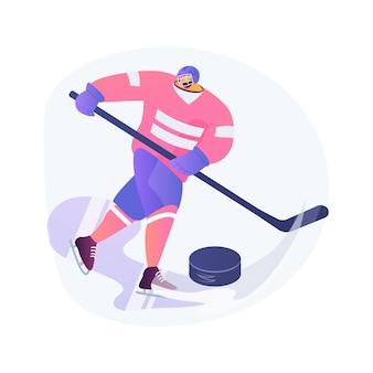 Ilustracja wektorowa koncepcja streszczenie hokej na lodzie. sprzęt sportowy na lodzie, profesjonalny klub hokejowy, mistrzostwa świata, trening drużynowy, oglądanie turnieju na żywo, abstrakcyjna metafora munduru ochronnego.