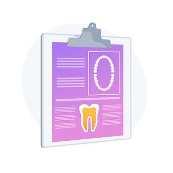 Ilustracja wektorowa koncepcja streszczenie karty pacjenta dentystycznego. posiadacz karty skierowania, program lojalnościowy gabinetu dentystycznego, elektroniczna dokumentacja medyczna, dane pacjenta, abstrakcyjna metafora inteligentnego systemu informacyjnego.