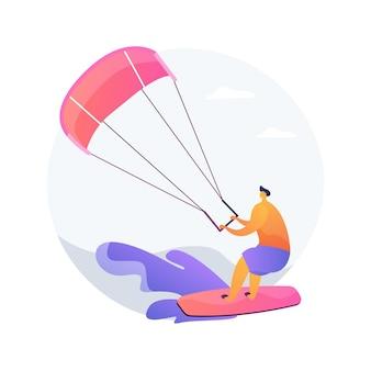 Ilustracja wektorowa koncepcja streszczenie kitesurfingu. kiteboarding, sporty wodne spadochronowe, przygoda z lataniem, prędkość wiatru, ekstremalna zabawa, kamera akcji, sztuczka freestyle, abstrakcyjna metafora wolności.