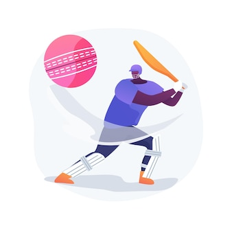 Ilustracja wektorowa koncepcja streszczenie krykieta. profesjonalny gracz, sprzęt sportowy, mistrzostwa krykieta, boisko, liga międzynarodowa, gra w piłkę, abstrakcyjna metafora stadionu zewnętrznego.