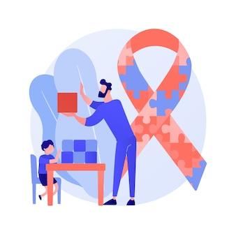 Ilustracja wektorowa koncepcja streszczenie leczenia autyzmu. terapia autyzmu, stosowana analiza zachowania, rozwój dzieci, poradnictwo zaburzeń, abstrakcyjna metafora leczenia niepełnosprawności poznawczej.