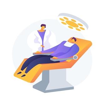 Ilustracja wektorowa koncepcja streszczenie leczenia stomatologicznego. klinika stomatologiczna, usługa pielęgnacji zębów, narzędzie do leczenia próchnicy, fotel dentystyczny, pomoc w nagłych przypadkach bólu zęba, abstrakcyjna metafora procedury ortodontycznej.