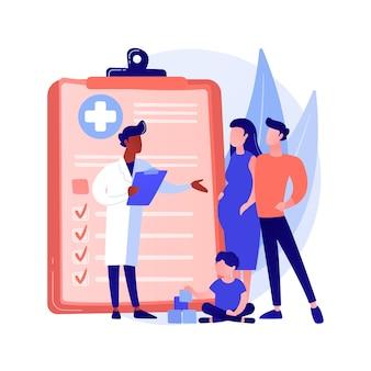 Ilustracja wektorowa koncepcja streszczenie lekarz rodzinny. odwiedź swojego lekarza, rodzinną praktykę lekarską, dostawcę podstawowej opieki zdrowotnej, lekarza pierwszego kontaktu, usługę lekarza, abstrakcyjną metaforę ubezpieczenia.