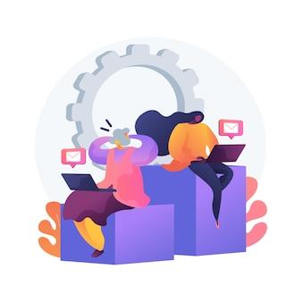 Ilustracja wektorowa koncepcja streszczenie luki technologicznej. przepaść cyfrowa, luka w aplikacjach, wykorzystanie technologii, urządzenie mobilne, zrozumienie, kraj rozwijający się, opóźnienie, abstrakcyjna metafora umiejętności cyfrowych.