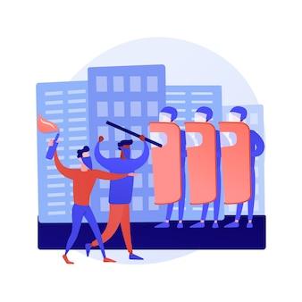 Ilustracja wektorowa koncepcja streszczenie masowych zamieszek. protesty publiczne, demonstracje, aktywizm polityczny, masowe niepokoje, akcje uliczne, spotkania, wandalizm i grabieże, abstrakcyjna metafora godziny policyjnej.