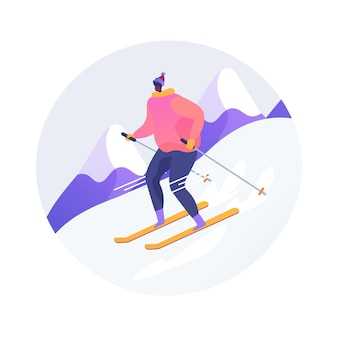 Ilustracja wektorowa koncepcja streszczenie narciarstwo. zimowa przygoda, stok górski, sport na świeżym powietrzu, rodzinna zabawa, kurort górski, zjazd, ekstremalne wakacje, szczyt śnieżny, abstrakcyjna metafora wakacji.