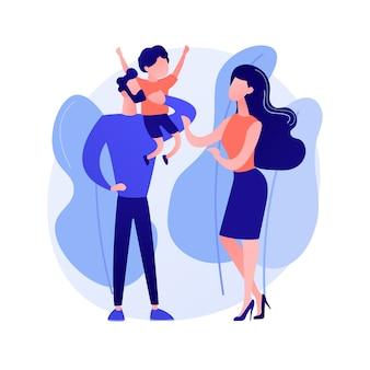 Ilustracja wektorowa koncepcja streszczenie niezamężnych rodziców. niezamężna para walcząca, partnerzy mieszkający razem, samotna kobieta w ciąży, rozwód i separacja, abstrakcyjna metafora niezamężnej matki.