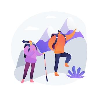 Ilustracja wektorowa koncepcja streszczenie piesze wycieczki. aktywny tryb życia, wspinaczka górska, biwakowanie na świeżym powietrzu, szlak trekkingowy, spacery po okolicy, przygoda podróżnicza, turystyka ekstremalna, abstrakcyjna metafora podróży.