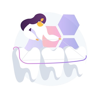 Ilustracja wektorowa koncepcja streszczenie płytki zębów dentystycznych. pojedyncza płytka zębowa, opieka stomatologiczna, protezy całkowite i częściowe, uzupełnienie brakujących zębów, abstrakcyjna metafora aparatu ortodontycznego.