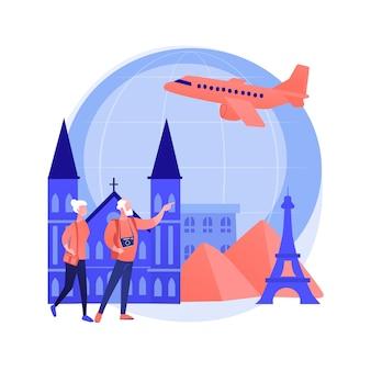 Ilustracja wektorowa koncepcja streszczenie podróży emerytalnych. podróże emerytalne, oszczędności emerytalne, opieka medyczna, pokrycie kosztów podróży, osoby starsze, ubezpieczenie, abstrakcyjna metafora celu podróży.