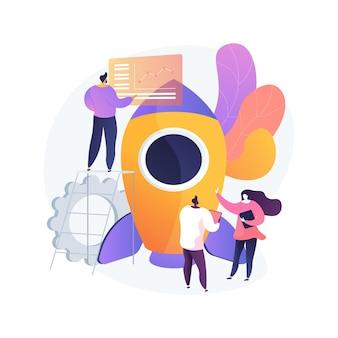 Ilustracja wektorowa koncepcja streszczenie procesu przepływu pracy. projektowanie i automatyzacja, zwiększanie produktywności biura, procesów biznesowych, abstrakcyjna metafora oprogramowania platformy zarządzania projektami w chmurze.