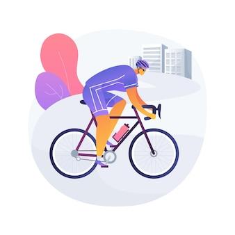 Ilustracja wektorowa koncepcja streszczenie rower drogowy. rower ekstremalny, transport miejski, szybki tor, podróż rowerowa, wyścig sportowy, rowerzysta uliczny, zawody w jeździe na świeżym powietrzu, abstrakcyjna metafora aktywnych ludzi.