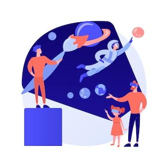 Ilustracja wektorowa koncepcja streszczenie rozwoju świata wirtualnego. rzeczywistość generowana komputerowo, wirtualny świat, tworzenie symulowanego środowiska, tworzenie doświadczeń użytkownika, abstrakcyjna metafora projektowania vr.