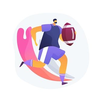 Ilustracja wektorowa koncepcja streszczenie rugby. futbol amerykański, zawodowy gracz, plac zabaw, sprzęt treningowy, piłka meczowa, liga mistrzostw świata, boisko trawiaste, abstrakcyjna metafora stadionu.