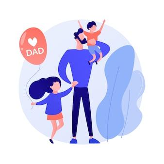 Ilustracja wektorowa koncepcja streszczenie samotnych ojców. rodzina niepełna, ojcostwo, szczęśliwe dziecko, syn i córka, mężczyzna karmiący niosący dziecko, pomoc w nauce, abstrakcyjna metafora dobrego taty.