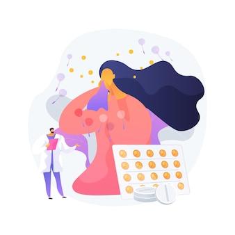 Ilustracja wektorowa koncepcja streszczenie sezonowych alergii. immunoterapia alergii na pyłki, diagnostyka chorób alergicznych, sezonowe testy alergiczne, przekrwienie błony śluzowej nosa, poradnictwo specjalistyczne - abstrakcyjna metafora.