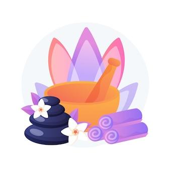 Ilustracja wektorowa koncepcja streszczenie spa salon. wellness pielęgnacja skóry, masaż relaksacyjny, zabiegi upiększające, aromaterapia, kosmetyka profesjonalna, pielęgnacja ciała, luksusowy kurort, olejoterapia abstrakcyjna metafora.