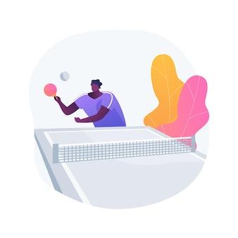 Ilustracja wektorowa koncepcja streszczenie tenis stołowy. kryty sport rakietowy, gra w ping ponga, wypożyczalnia sprzętu do tenisa stołowego, zabawa na świeżym powietrzu, lokalny klub, zawodowy gracz, metafora abstrakcyjna turnieju.