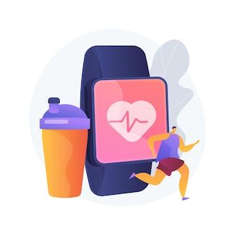 Ilustracja wektorowa koncepcja streszczenie treningu połączony. połączone cyfrowo systemy treningowe, stwórz spersonalizowany program, sprzęt fitness, inteligentną siłownię, abstrakcyjną metaforę samouczka sportowego.