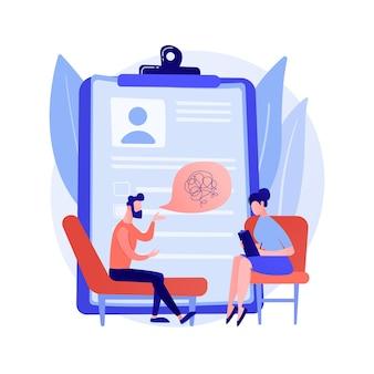 Ilustracja wektorowa koncepcja streszczenie usługi psychologa. prywatna sesja psychologa, służba zdrowia psychicznego, psychologia rodzinna, terapia dzieci, abstrakcyjna metafora psychoterapii relacji.