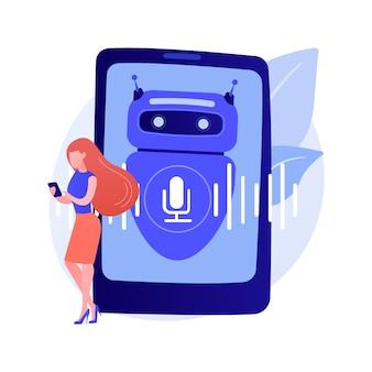 Ilustracja wektorowa koncepcja streszczenie wirtualnego asystenta sterowanego głosem chatbota. mówiący wirtualny asystent osobisty, aplikacja głosowa na smartfony, sztuczna inteligencja, abstrakcyjna metafora chatbota sterowanego głosem.