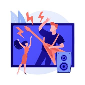 Ilustracja wektorowa koncepcja streszczenie wirtualnego koncertu. kwarantanna transmisji na żywo, media społecznościowe, występy muzyczne online, dystans społeczny, pobyt w domu, abstrakcyjna metafora prywatnych koncertów na całym świecie.