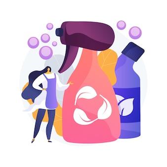 Ilustracja wektorowa koncepcja streszczenie zielony czyszczenia. firma sprzątająca ekologicznie, obsługa przyjazna dla środowiska, naturalne detergenty, sprzęt do prania, abstrakcyjna metafora chemii do prania.