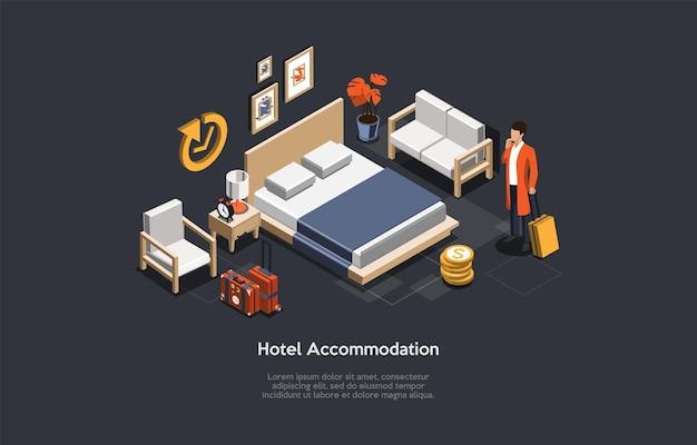 Ilustracja wektorowa, koncepcja zakwaterowania w hotelu. izometryczny skład 3d, styl kreskówki. dzienny wynajem mieszkania lub pokoju. nieruchomości, usługi mieszkaniowe. postać z bagażem, elementy w pomieszczeniu