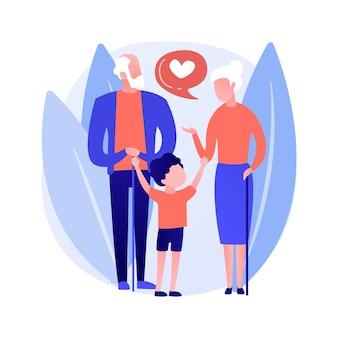 Ilustracja wektorowa koncepcji abstrakcyjnej opieki. opieka nad dzieckiem, opiekun prawny, macocha ojczym, rodzic zastępczy, prawnik rodzinny, szczęśliwe rodzicielstwo, abstrakcyjna metafora adopcyjna.