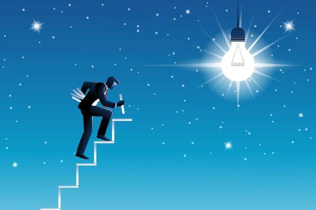 Ilustracja wektorowa koncepcji biznesowej, biznesmen buduje schody, aby uzyskać dużą żarówkę na niebie