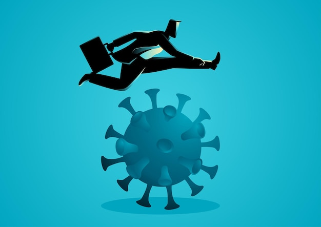 Ilustracja Wektorowa Koncepcji Biznesowej Biznesmena Przeskakującego, Aby Przejść Problem Finansowy, Przetrwanie Podczas Pandemii, Wybuch Koronawirusa Covid-19 Premium Wektorów