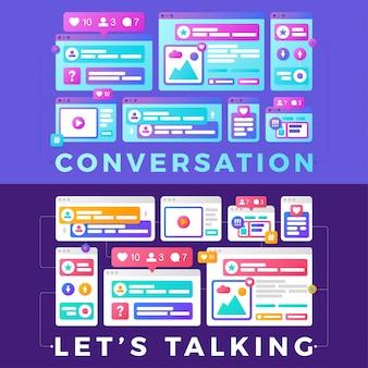 Ilustracja wektorowa koncepcji komunikacji społecznej mediów. rozmowa na słowa z kolorowymi wieloplatformowymi oknami przeglądarki