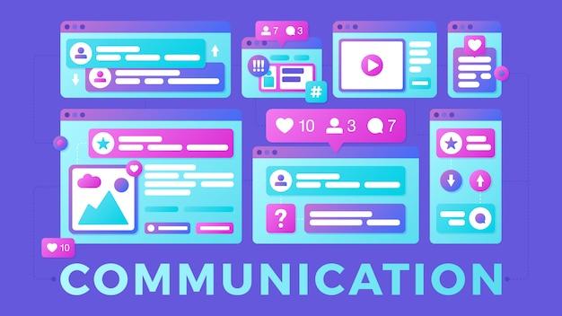 Ilustracja wektorowa koncepcji komunikacji społecznej mediów. słowo komunikacja z kolorowymi wieloplatformowymi oknami przeglądarki
