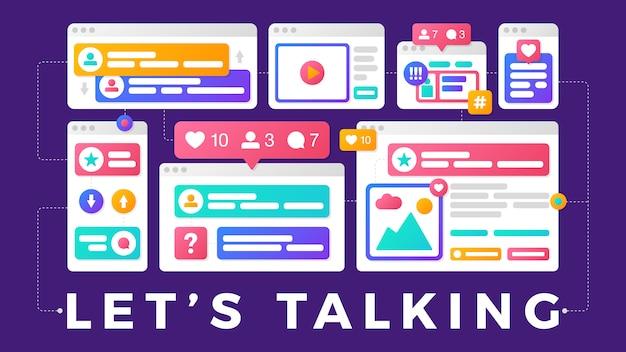 Ilustracja wektorowa koncepcji komunikacji społecznej mediów. słowo pozwala rozmawiać z kolorowymi wieloplatformowymi oknami przeglądarki