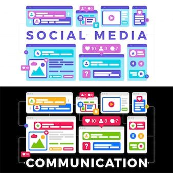 Ilustracja wektorowa koncepcji komunikacji społecznej mediów. słowo social media z kolorowymi wieloplatformowymi oknami przeglądarki