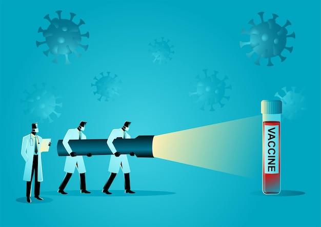 Ilustracja wektorowa koncepcji medycznej zespołu badaczy medycznych, trzymając gigantyczną latarkę, szukając szczepionki