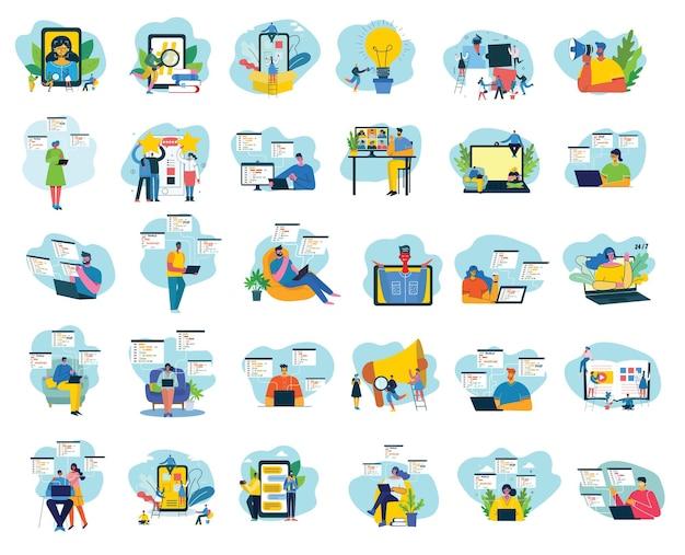 Ilustracja wektorowa koncepcji pracy zespołowej, biznesu i projektowania uruchamiania.