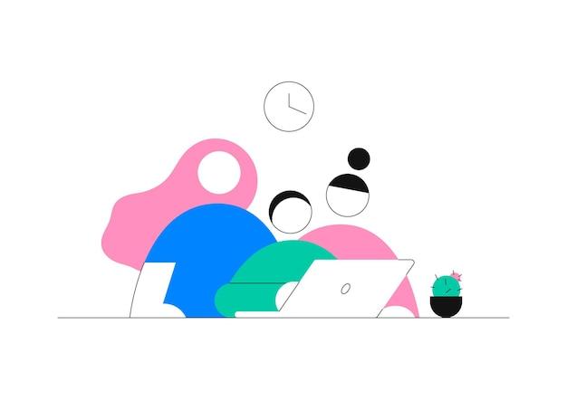 Ilustracja wektorowa koncepcji pracy zespołowej koledzy dwie kobiety i mężczyzna pracują razem
