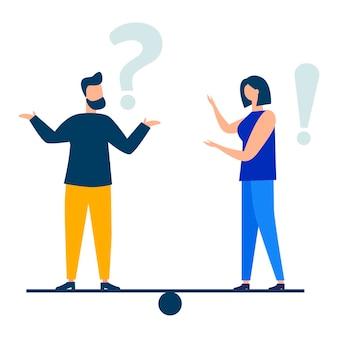 Ilustracja wektorowa koncepcyjna ilustracja często zadawanych pytań wykrzykników