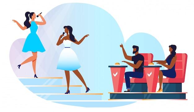 Ilustracja wektorowa konkurencji śpiewu amatorskiego