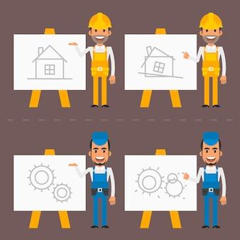 Ilustracja wektorowa, konstruktor i mechanik wskazują tablicę typu flip chart, format eps 10.
