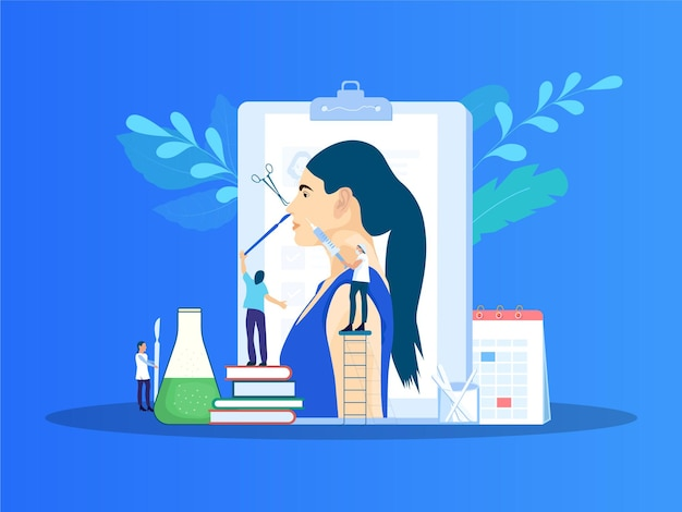 Ilustracja wektorowa korekcja nosa chirurgia plastyczna nosa