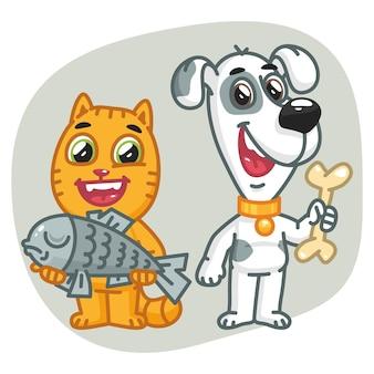 Ilustracja wektorowa, kot trzymający rybę, pies trzymający kość, format eps 10