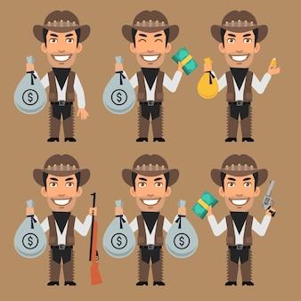 Ilustracja Wektorowa, Kowboj Rabuś Trzyma Pieniądze I Złoto, Format Eps 10 Premium Wektorów